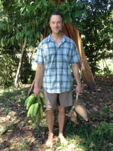 When we were in Costa Rica, we had an abundance of yucca (see photo of John holding yucca he pulled out of the ground!) and plantains.