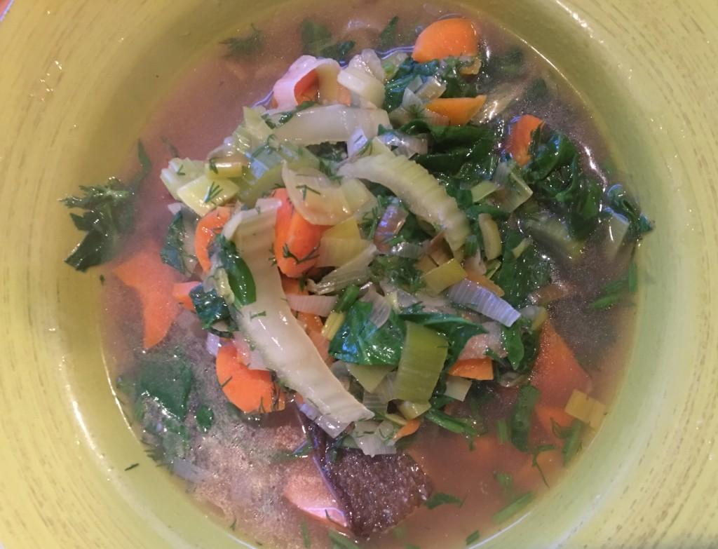 a bowl of salmon stew